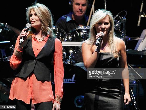 Rhonda Vincent and Lisa Matassa perform during Playin' Possum The Final No Show Tribute To George Jones Show at Bridgestone Arena on November 22 2013...