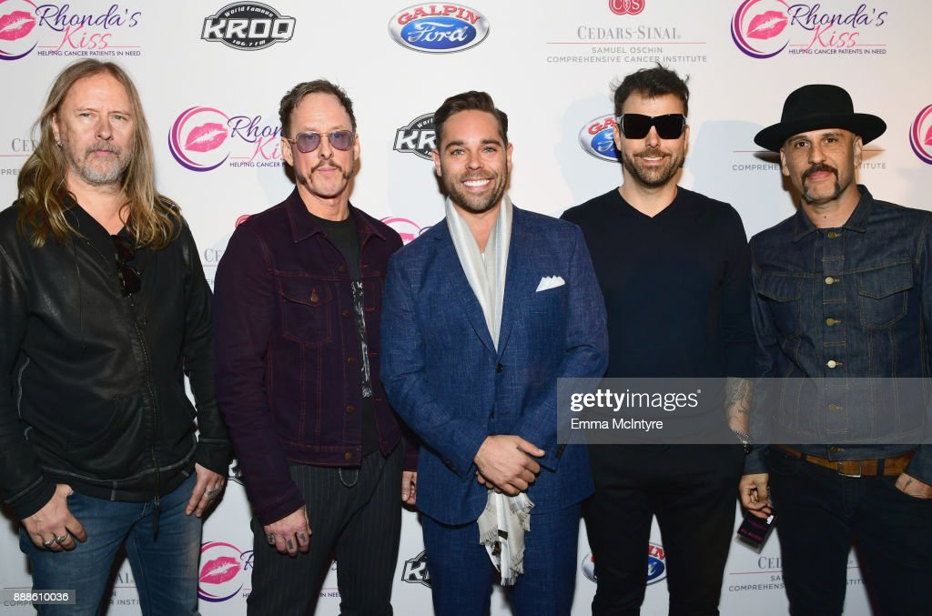 Rhonda's Kiss CEO Kyle Stefanski (C) and Jerry Cantrell, Scott Shriner, Franky Perez and Dave Kushner of Hellcat Saints attend the 2017 Rhonda's Kiss Benefit Concert at Hollywood Palladium on December 8, 2017 in Los Angeles, California.