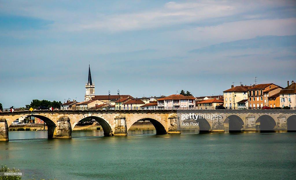 Rhone River Bridge, Macon, France : Stock Photo