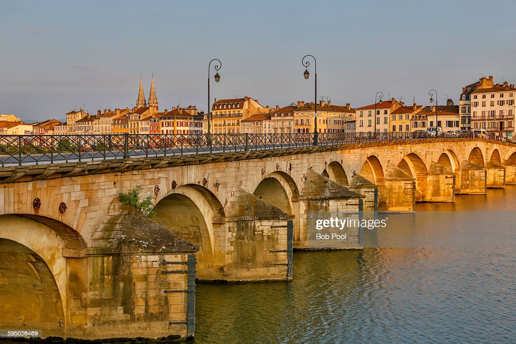 Rhone River Bridge, Macon, France : Stock Photo