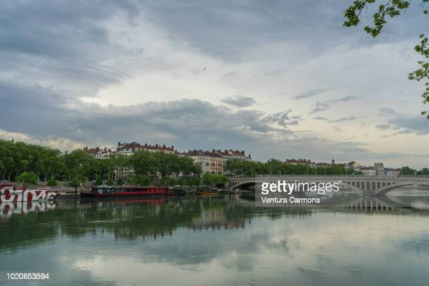 rhone river through lyon, france - rhone stock pictures, royalty-free photos & images