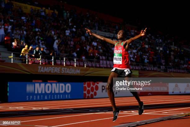 Rhonex Kipruto of Kenya crosses the finish line to win the final of the men's 10000m on day one of The IAAF World U20 Championships on July 10 2018...