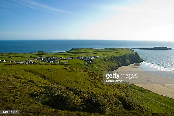 rhosilli bay - gower peninsula stock photos and pictures