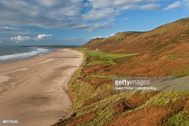 rhossilli bay, gower peninsula, glamorgan, wales, united kingdom, europe - gavin hellier stock pictures, royalty-free photos & images