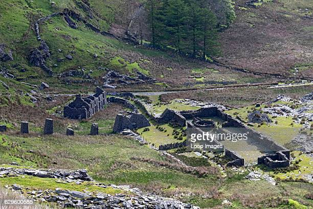 Rhosydd Terrace ruins of slate miners cottages and the Conglog Quarry in Cwmorthin Cwmorthin Wales