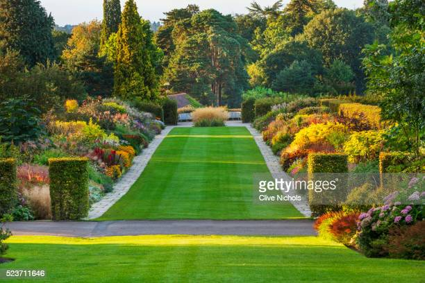 Rhs Garden, Wisley, Surrey: The Famous Double Mixed Border in September Stretching 128 Metres Down T