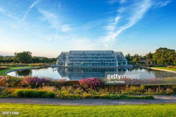 Rhs Garden, Wisley: The Glass house and Lake with Borders by tom Stuart - Smith - Summer, September,