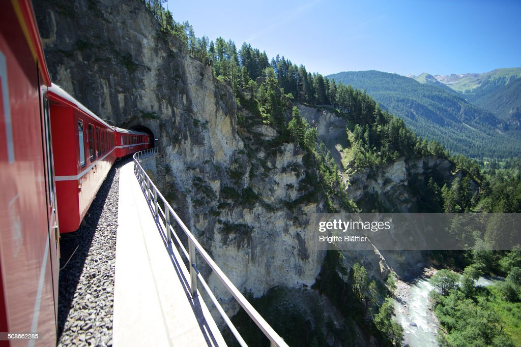 RHB, Rhätische Bahn, over Landwasserviadukt, Unesco World heritage route, Grisons, Switzerland.