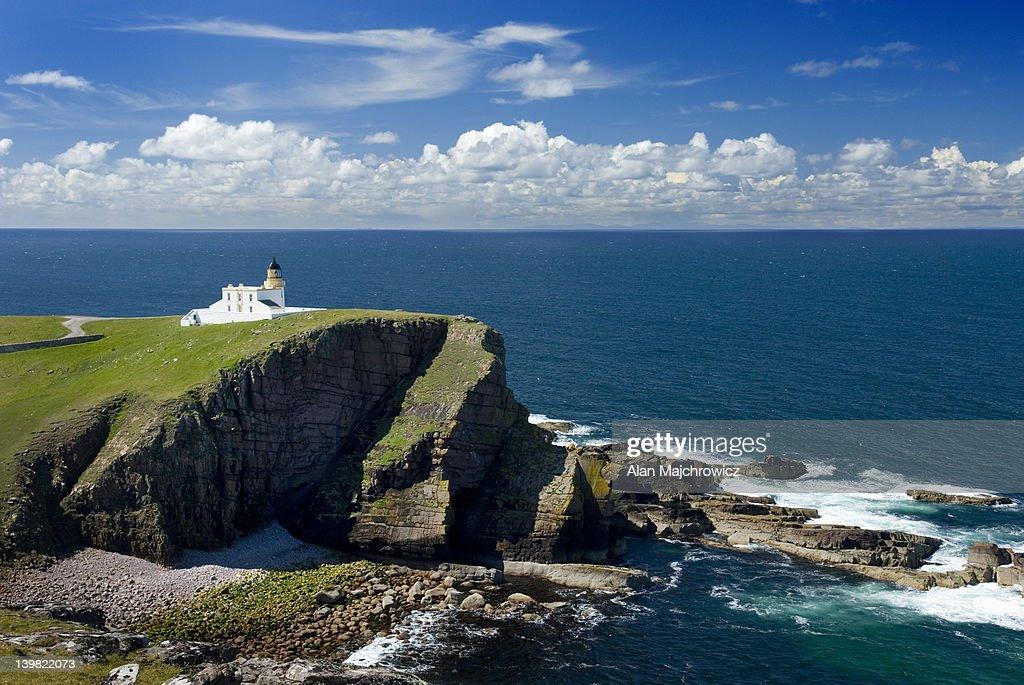Rhu Stoer Lighthouse at Point of Stoer, Assynt - Coigach National Scenic Area, Scotland, UK : Stock Photo