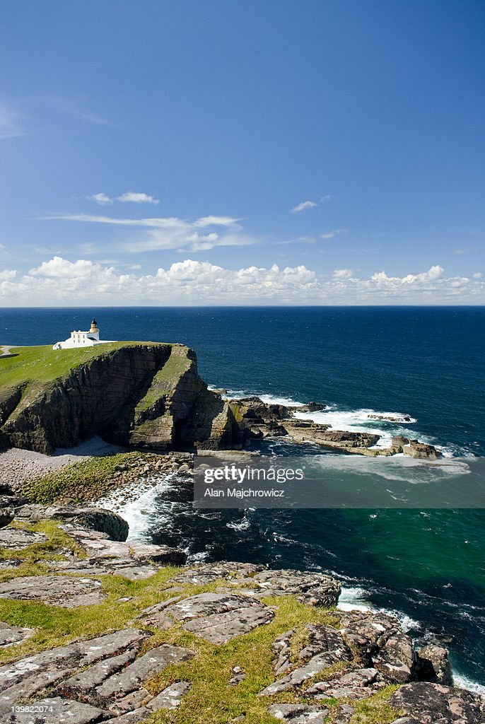 Rhu Stoer Lighthouse at Point of Stoer, Assynt - Coigach National Scenic Area, Scotland, UK : Stock Photo