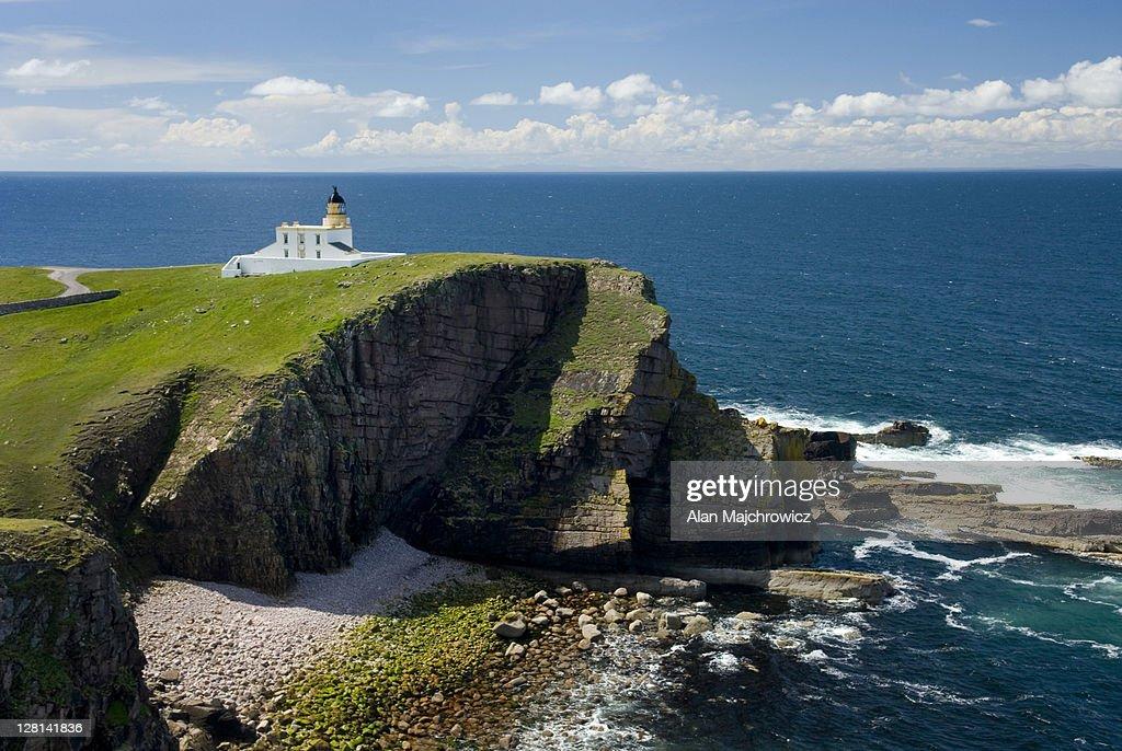 Rhu Stoer Lighthouse at Point of Stoer, Assynt-Coigach Scenic Area. Scotland : Stock Photo