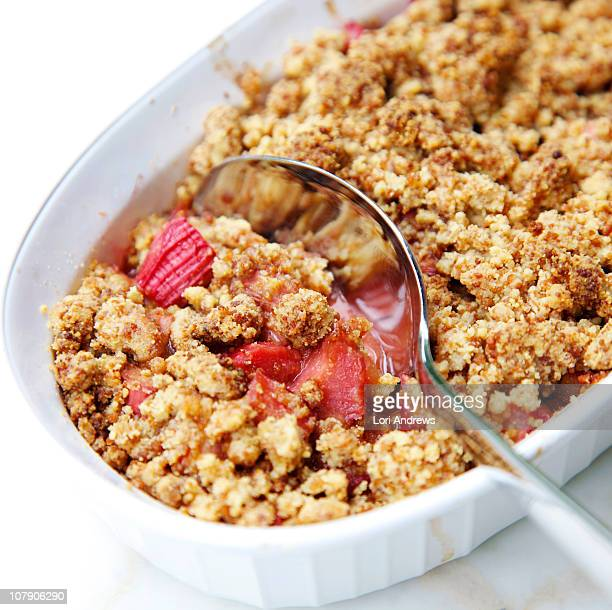 rhubarb crumble - rhubarb stock photos and pictures