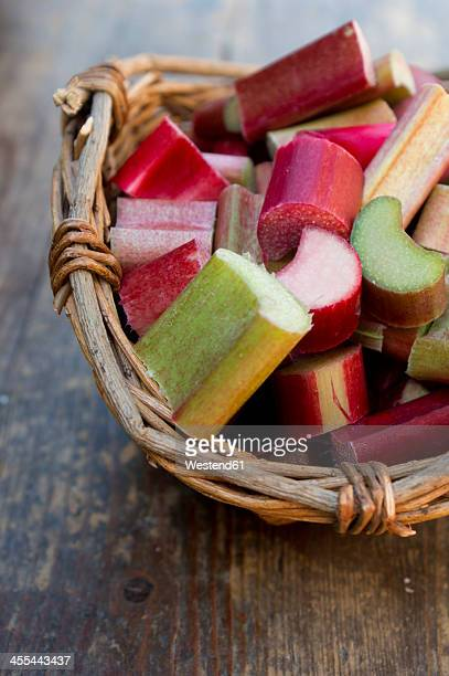 Rhubarb in wooden basket, close up
