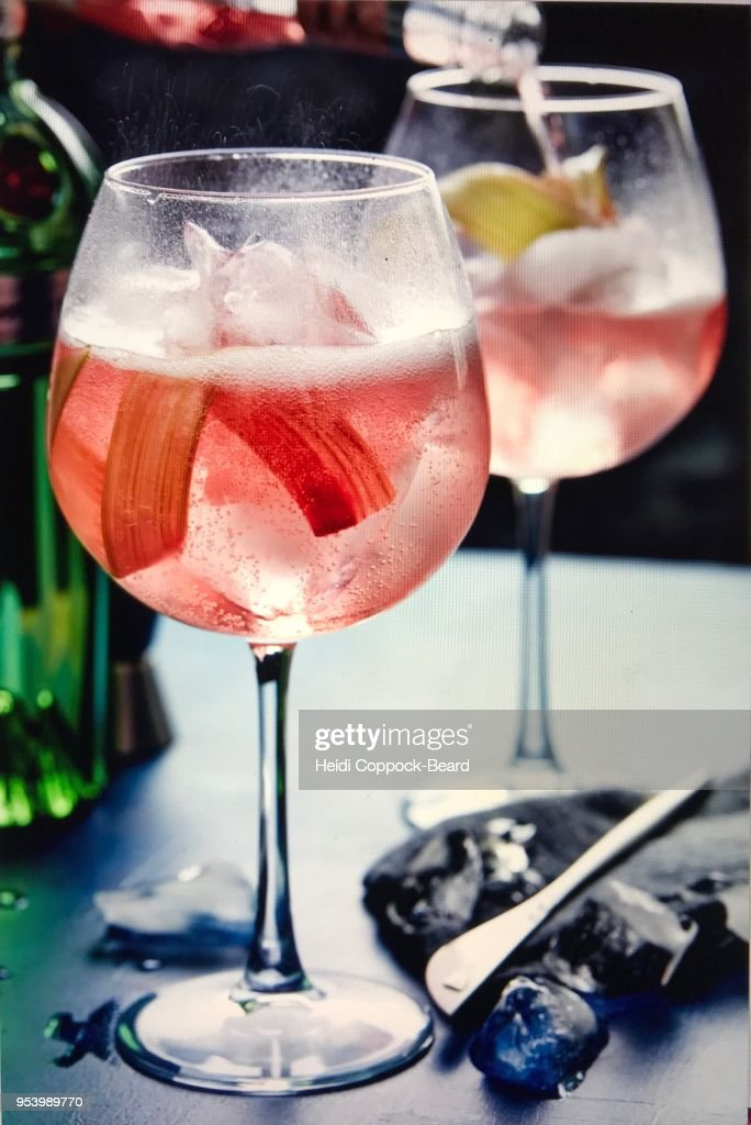 Rhubarb tonic drink : Stock Photo