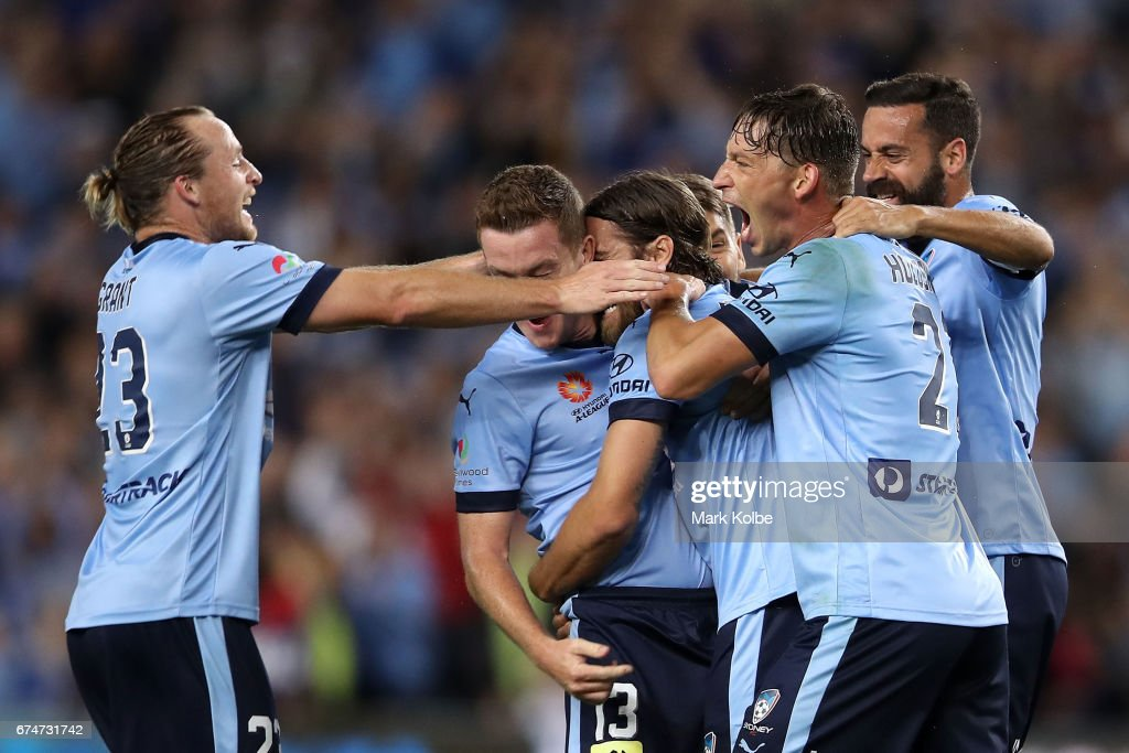 Rhyan Grant, Brandon O'Neill, Joshua Brillante, Filip Holosko and Alex Brosque of Sydney FC celebrate Joshua Brillante scoring a goal during the A-League Semi Final match between Sydney FC and the Perth Glory at Allianz Stadium on April 29, 2017 in Sydney, Australia.
