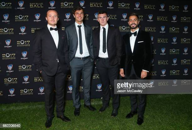 Rhyan Grant George Blackwood Sebastian Ryall and Michael Zullo arrive at the 2017 Sky Blue Ball at Sydney Cricket Ground on May 12 2017 in Sydney...