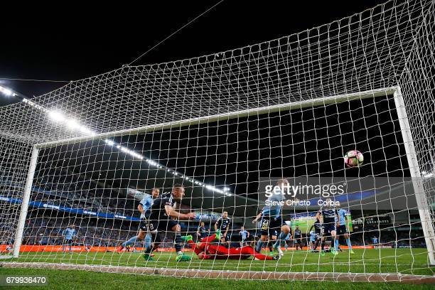 Rhyan Grant of Sydney FC celebrates scoring the equilising goal during the 2017 ALeague Grand Final match between Sydney FC and the Melbourne Victory...