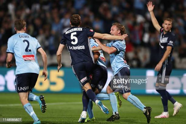 Rhyan Grant of Sydney FC celebrates the goal to Aaron Calver during the A-League Semi Final match between Sydney FC and the Melbourne Victory at...