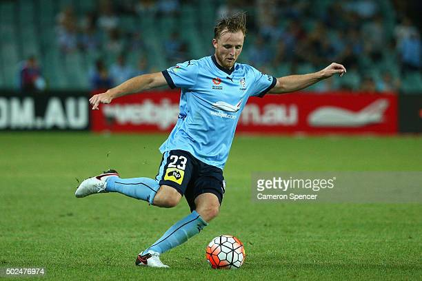 Rhyan Grant of Sydney FC controls the ball during the round 12 ALeague match between Sydney FC and the Central Coast Mariners at Allianz Stadium on...