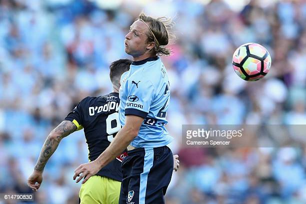 Rhyan Grant of Sydney FC heads the ball during the round two ALeague match between Sydney FC and the Central Coast Mariners at Allianz Stadium on...