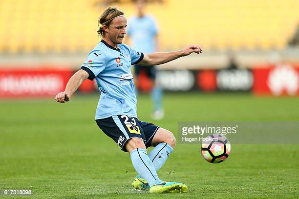 Rhyan Grant of Sydney FC passes during the round three ALeague match between the Wellington Phoenix and Sydney FC at Westpac Stadium on October 23...