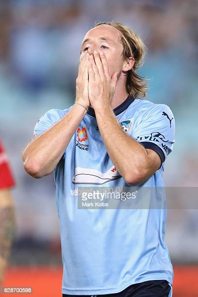 Rhyan Grant of Sydney FC reacts after a missed chance during the round 10 ALeague match between Sydney FC and Melbourne City FC at ANZ Stadium on...