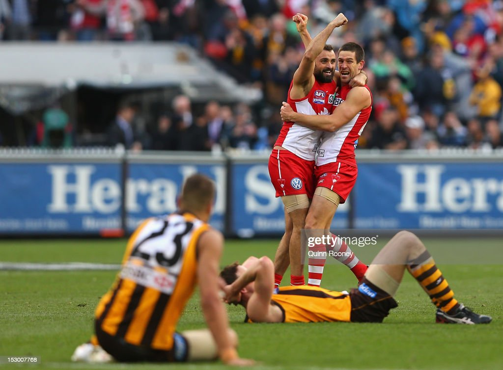 Rhyce Shaw and Martin Mattner of the Swans celebrates winning the 2012 AFL Grand Final match between the Sydney Swans and the Hawthorn Hawks at the Melbourne Cricket Ground on September 29, 2012 in Melbourne, Australia.