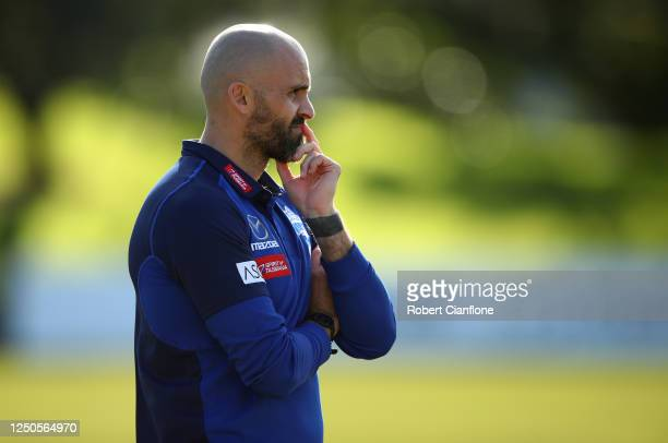 Rhyce Shaw coach of the Kangaroos looks on during a North Melbourne Kangaroos training session at Arden Street Ground on June 19, 2020 in Melbourne,...