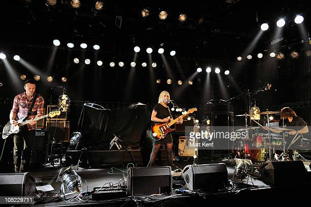 Rhydian Dafydd Ritzy Bryan and Matt Thomas of The Joy Formidable perform at Barclaycard Mercury Prize Session at The Hospital on October 12 2010 in...