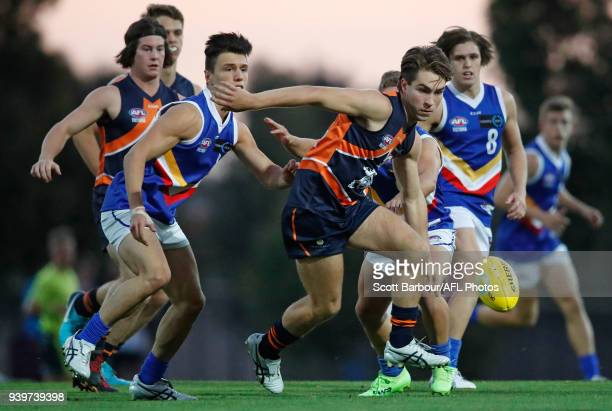 Rhylee West of the Calder Cannons competes for the ball during the round two TAC Cup match between Calder and Eastern Ranges at RAMS Arena on March...