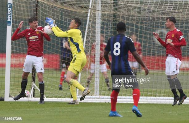 Rhys Bennett and Radek Vitek of Manchester United U18s in action during the U18 Premier League match between Manchester United U18s and Middlesbrough...