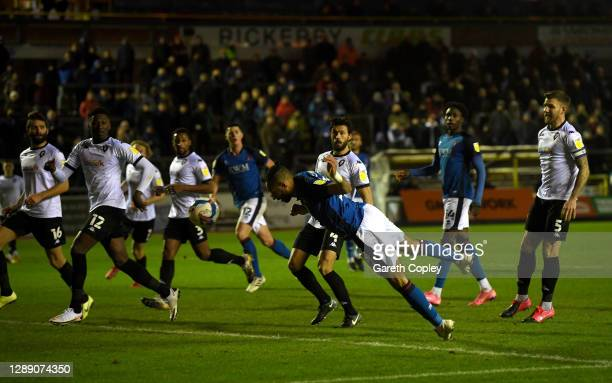 Rhys Bennett of Carlisle United scores his team's second goal during the Sky Bet League Two match between Carlisle United and Salford City at Brunton...