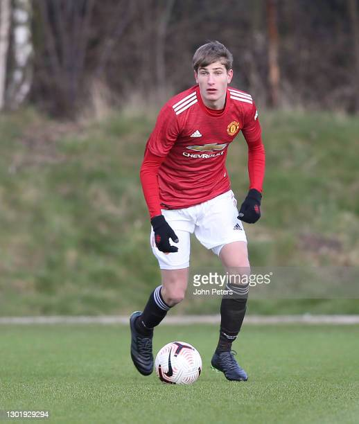 Rhys Bennett of Manchester United U18s in action during the U18 Premier League match between Manchester United U18s and Manchester City U18s at Aon...