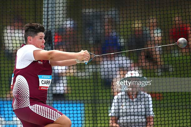 Rhys Carr of Queensland competes in the Mens Hammer u16 event during the Australian Junior Athletics Championships at the WA Athletics Stadium on...