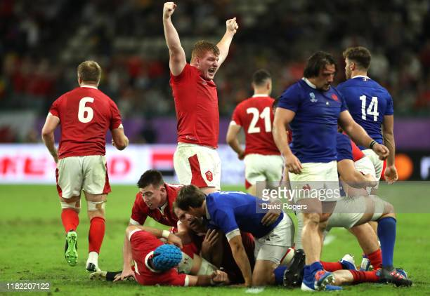 Rhys Carre of Wales celebrate victory after the Rugby World Cup 2019 Quarter Final match between Wales and France at Oita Stadium on October 20 2019...