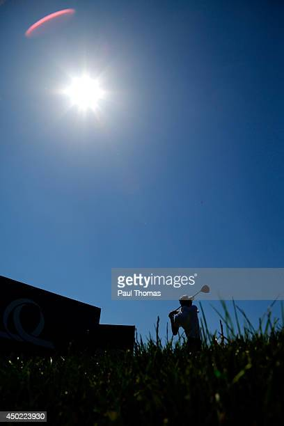 Rhys Davies of Wales tees off during the Lyoness Open day three at the Diamond Country Club on June 7 2014 in Atzenbrugg Austria