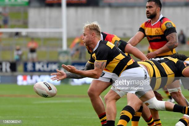 Rhys Dickinson of Waikato passes the ball during the round 7 Mitre 10 Cup match between Waikato and Taranaki at FMG Stadium on October 25 2020 in...