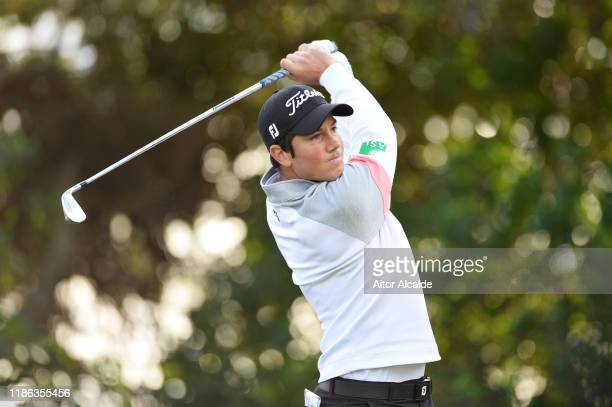 Rhys Enoch of Wales plays his shot from the sixth tee during day 2 of the Challenge Tour Grand Final at Club de Golf Alcanada on November 08 2019 in...