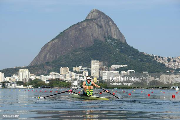 Rhys Grant of Australia competes during the Men's Single Sculls Heat 5 on Day 1 of the Rio 2016 Olympic Games at the Lagoa Stadium on August 6 2016...