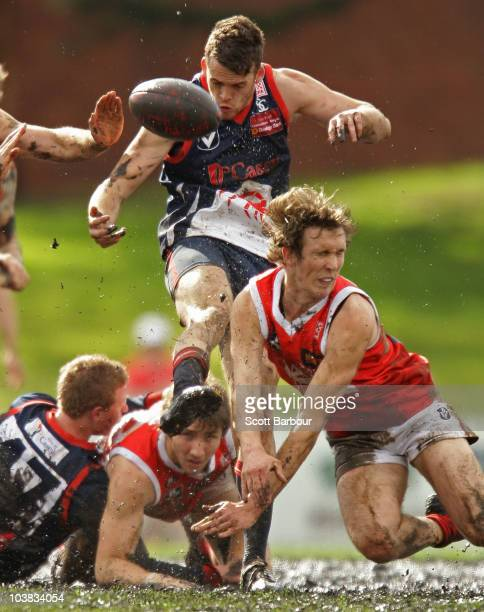 Rhys Healey of the Scorpions kicks the ball during the Second VFL Semi Final match between the Casey Scorpions and the Northern Bullants at Teac Oval...