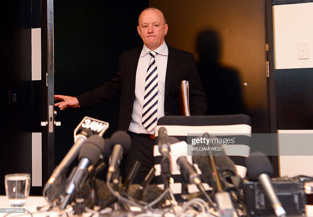 Rhys Holleran, CEO of Southern Cross Austereo, the parent company of Sydney's 2Day FM radio station, arrives for a press conference in Melbourne on December 8, 2012 following the news that Jacintha Saldanha, the nurse who took a call a hoax call to London's private King Edward VII hospital treating Prince William's pregnant wife Catherine, apparently killed herself according to media reports on December 7. Two Australian radio presenters, Mel Greig and Michael Christian, who made a hoax call to the hospital treating Prince William's pregnant wife Catherine have been taken off the air after the nurse who took the call apparently killed herself. AFP PHOTO/William WEST