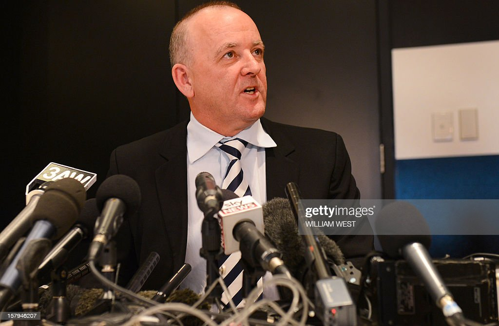 Rhys Holleran, CEO of Southern Cross Austereo, the parent company of Sydney's 2Day FM radio station, answers a question during a press conference in Melbourne on December 8, 2012 following the news that Jacintha Saldanha, the nurse who took a call a hoax call to London's private King Edward VII hospital treating Prince William's pregnant wife Catherine, apparently killed herself according to media reports on December 7. Two Australian radio presenters, Mel Greig and Michael Christian, who made a hoax call to the hospital treating Prince William's pregnant wife Catherine have been taken off the air after the nurse who took the call apparently killed herself. AFP PHOTO/William WEST