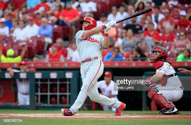 Rhys Hoskins of the Philadelphia Phillies hits a home run in the first inning against the Cincinnati Reds at Great American Ball Park on July 26 2018...