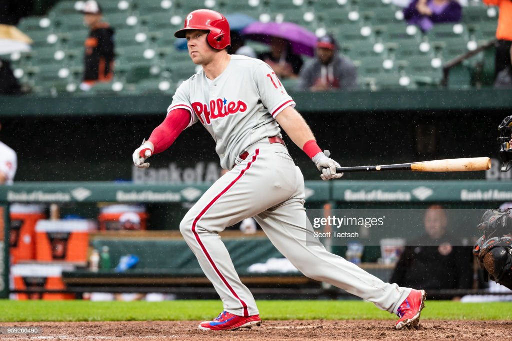 Rhys Hoskins #17 of the Philadelphia Phillies hits an RBI double during the seventh inning against the Baltimore Orioles at Oriole Park at Camden Yards on May 16, 2018 in Baltimore, Maryland.