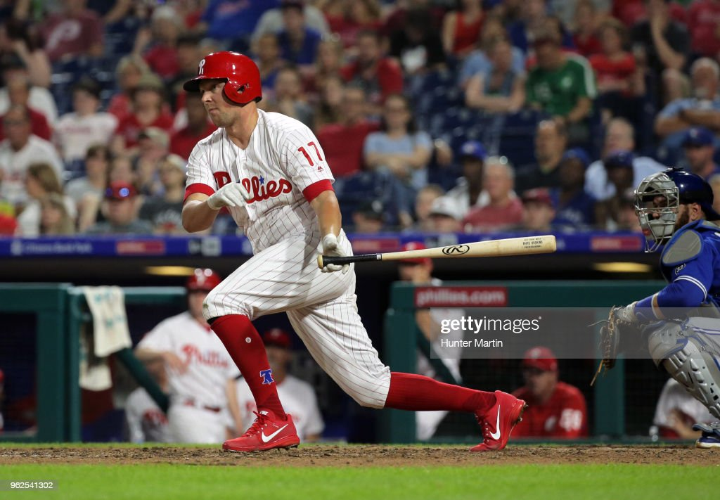 Rhys Hoskins #17 of the Philadelphia Phillies hits an RBI double in the eighth inning during a game against the Toronto Blue Jays at Citizens Bank Park on May 25, 2018 in Philadelphia, Pennsylvania. The Blue Jays won 6-5.