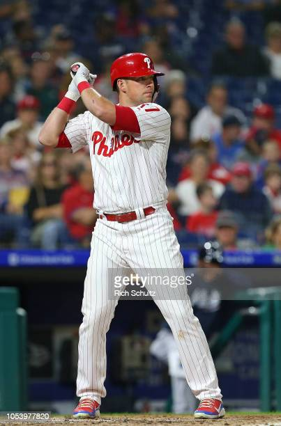 Rhys Hoskins of the Philadelphia Phillies in action against the Atlanta Braves during a game at Citizens Bank Park on September 29 2018 in...