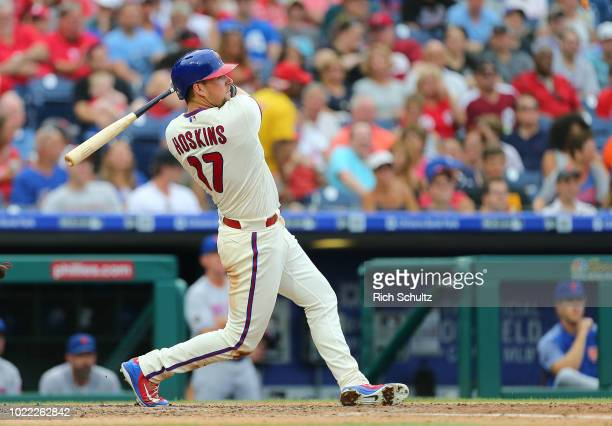 Rhys Hoskins of the Philadelphia Phillies in action against the New York Mets during a game at Citizens Bank Park on August 18 2018 in Philadelphia...