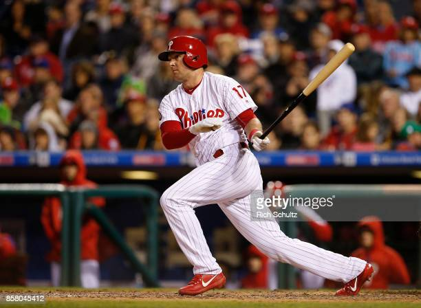Rhys Hoskins of the Philadelphia Phillies in action against the New York Mets during a game at Citizens Bank Park on September 30 2017 in...
