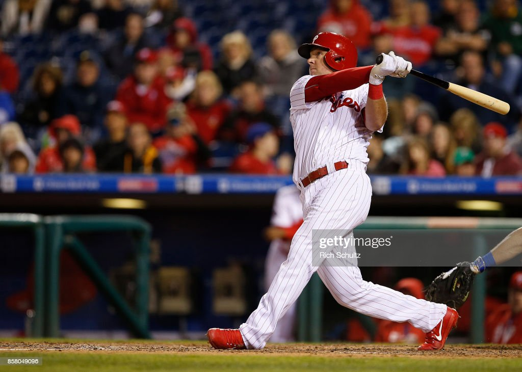Rhys Hoskins #17 of the Philadelphia Phillies in action against the New York Mets during a game at Citizens Bank Park on September 30, 2017 in Philadelphia, Pennsylvania.