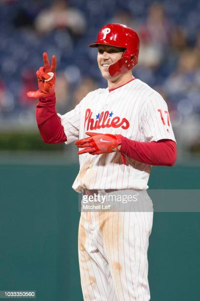 Rhys Hoskins of the Philadelphia Phillies reacts after hitting a double in the bottom of the eighth inning against the Miami Marlins at Citizens Bank...